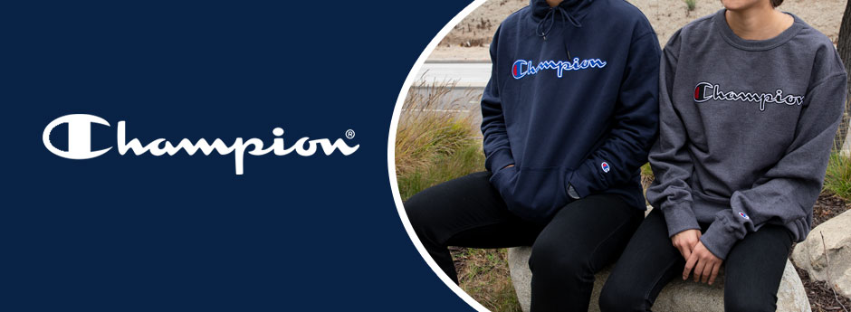 Champion  - two people in champion sweatshirts sitting