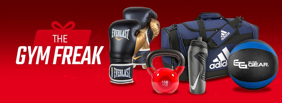 Holiday Gift Guide - Assortment of Everlast Boxing Gloves, adidas duffle bag, Nike Water Bottle, and Go Time Gear Medicine Ball