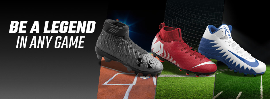 Be a legend in any game - a baseball, soccer and football cleat overlaying the type of field each game is played on