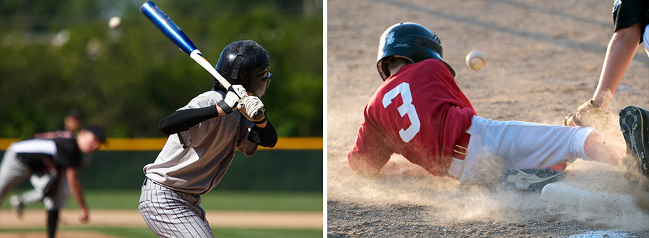 an image of a youth batting and another image of a young boy sliding into a base