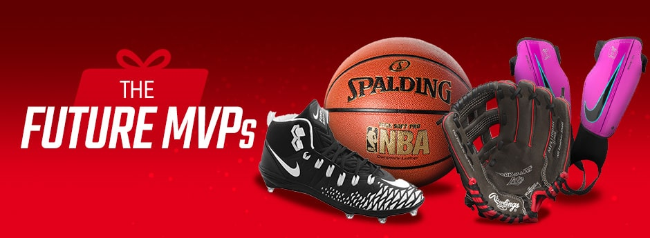 Holiday Gift Guide - Spalding Basketball, baseball glove, football cleat, and shin gaurd