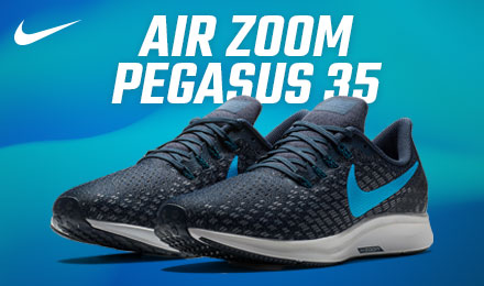 Nike Air Zoom Pegasus 35 - a pair of black and blue running shoes on a blue background